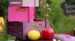 Boxes, lemon and apple Stock Footage
