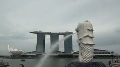 Singapore Merlion in Front of Marina Bay Sands and Art Science Museum Getting Stock Footage