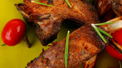 Served savory plate: meat ribs Stock Footage