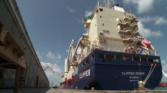 Cargo Ship Being Unloaded - Time lapse Stock Footage