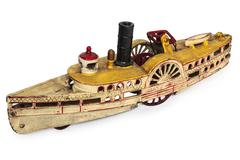 Toy replica of an old river boat isolated on white Stock Photos