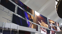 Stock Video Footage of Airport Terminal Video Wall