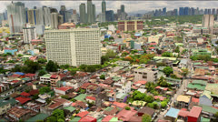 Dramatic aerial showing the business district Makati of Metro-Manila Stock Footage