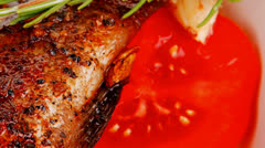 served main course: whole fried seabass - stock footage