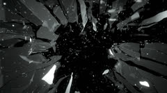 Cracked and Shattered black glass with slow motion. Alpha is included - stock footage