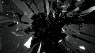 Stock Video Footage of Cracked and Shattered black glass with slow motion. Alpha is included