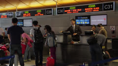 LAX Airport Airline Ticket Counter Stock Footage