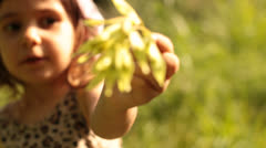 Baby Girl Waves Leaves in Camera - stock footage