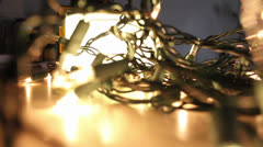 Closeup of Christmas lights flashing fast Stock Footage