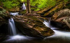 ozone falls and cascades on kitchen creek, in glen leigh, ricketts glen state - stock photo