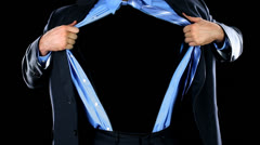 Superhero Tears Shirt Open Like Clark Kent Superman Tie Suit Alpha Channel - stock footage