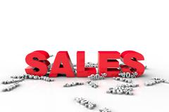 3d discount text falling on 3d text sales - stock illustration