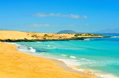 Stock Photo of beach in natural park of dunes of corralejo in fuerteventura, spain