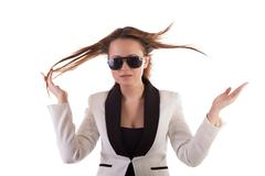 beautiful glamour girl with sunglasses isolated on white background - stock photo