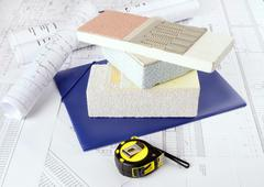 piece of styrofoam   with plaster, glue, net, polystyrene, thermal protection - stock photo