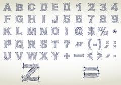 Sketch alphabet. Vector illustration Stock Illustration