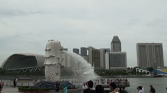 Singapore Merlion in Front of Esplanade - stock footage