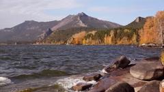 Autumn landscape in Burabay. Stock Footage
