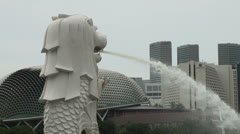 Singapore Merlion in Front of Esplanade No People - stock footage