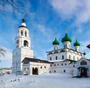 White steeple church with domes Stock Photos