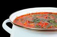 Stock Photo of casserole with fresh hot borsch