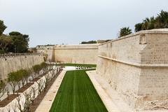 bastion walls mdina in malta, 2013 - stock photo