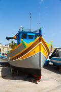 luzzu, traditional eyed fishing boats - stock photo