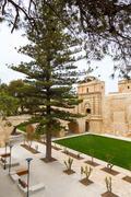 main gate city access to mdina in malta 2013 - stock photo