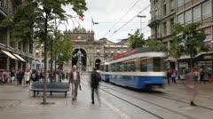 Trams on Bahnhofstrasse, Zurich, Switzerland Ultra HD Stock Footage