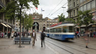 Stock Video Footage of Trams on Bahnhofstrasse, Zurich, Switzerland Ultra HD