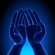 Human Empty Palm - Blue concept - stock photo