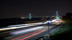New York Traffic at Night Verizano Bridge Time Lapse - stock footage
