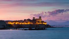 cityscape of antibes at sunset - stock photo