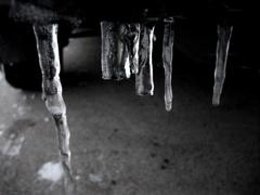 Broken icicles - stock photo