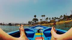 POV Kayak In Alamitos Bay Approaching Shore Beach Stock Footage