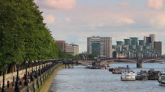 The Southbank, London - Looking West from Westminster Bridge HD Stock Footage
