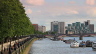 Stock Video Footage of The Southbank, London - Looking West from Westminster Bridge HD