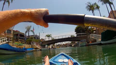 POV Kayaking In Naples Canals- Approaching Bridge - stock footage