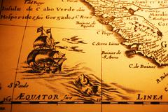 old map sea monster sailing ship equator africa - stock photo