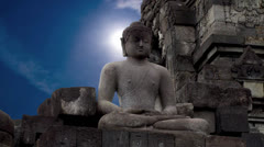 Statue of Buddha sitting in the lotus position. Borobudur. Stock Footage