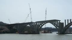 Barge crane Henley Bridge construction Stock Footage