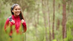 Woman hiker hiking in forest on Tenerife Stock Footage
