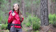 Hiker woman walking hiking in forest on Tenerife Stock Footage