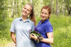 girls in park - stock photo