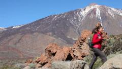 Active healthy lifestyle woman hiking on Teide Stock Footage