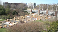 Knoxville tennessee convention center park waterfall 2 Stock Footage