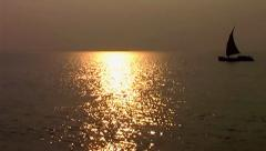 Running boat through sunset. Stock Footage