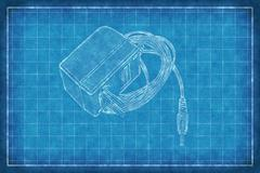 AC DC Adapter - Blue Print - stock illustration