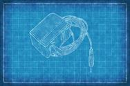 Stock Illustration of AC DC Adapter - Blue Print