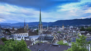 Stock Video Footage of Skyline of Zurich, Switzerland Ultra HD